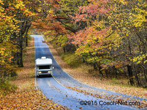 RV driving down road at Shenandoah National Park