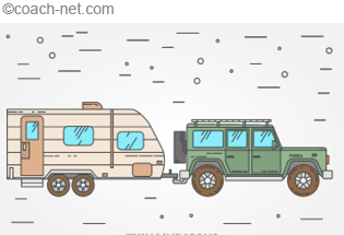Travel Trailer and Jeep