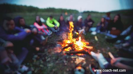 talking around a campfire