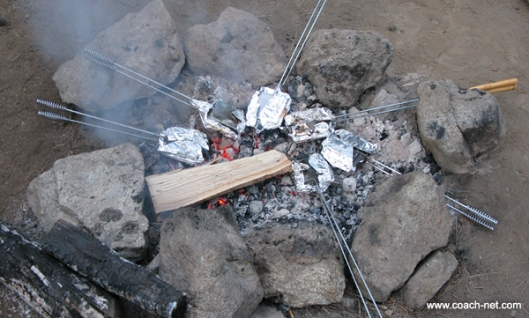 Pie Iron Over Campfire